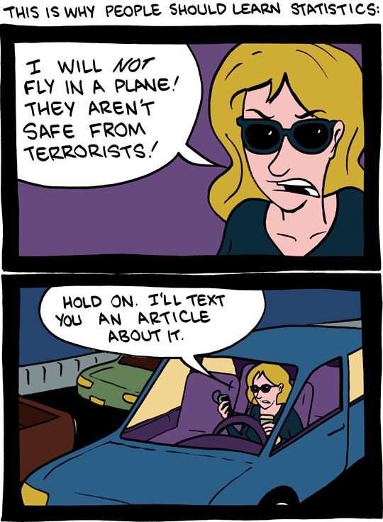 SMBC comic, chance of death flying vs driving